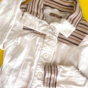 White Prana Breathe Knit Detailed Jacket (Small)